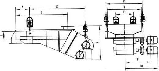 bzg系列普通电机驱动惯性振动给料机(封闭形)外形尺寸